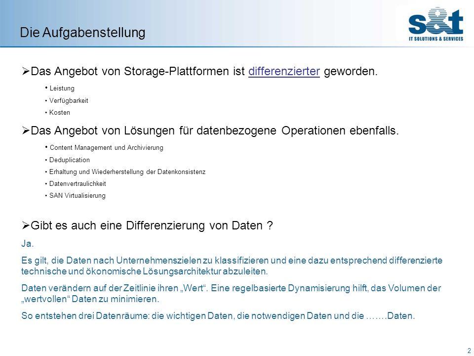 Die Aufgabenstellung Das Angebot von Storage-Plattformen ist differenzierter geworden. Leistung. Verfügbarkeit.
