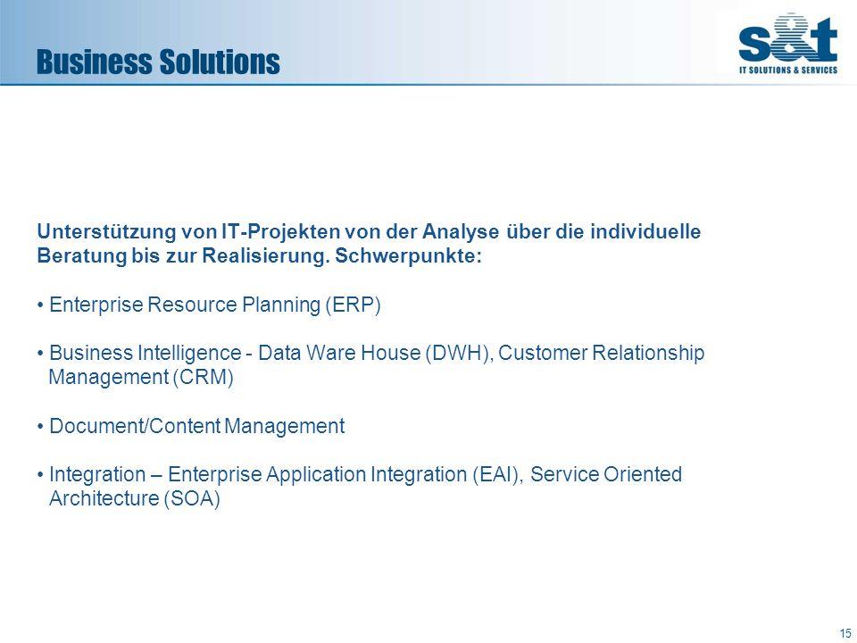 Business Solutions Unterstützung von IT-Projekten von der Analyse über die individuelle Beratung bis zur Realisierung. Schwerpunkte: