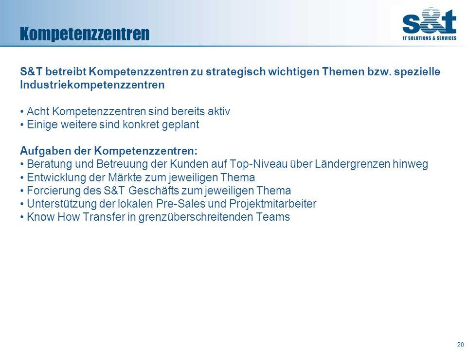 Kompetenzzentren S&T betreibt Kompetenzzentren zu strategisch wichtigen Themen bzw. spezielle Industriekompetenzzentren.