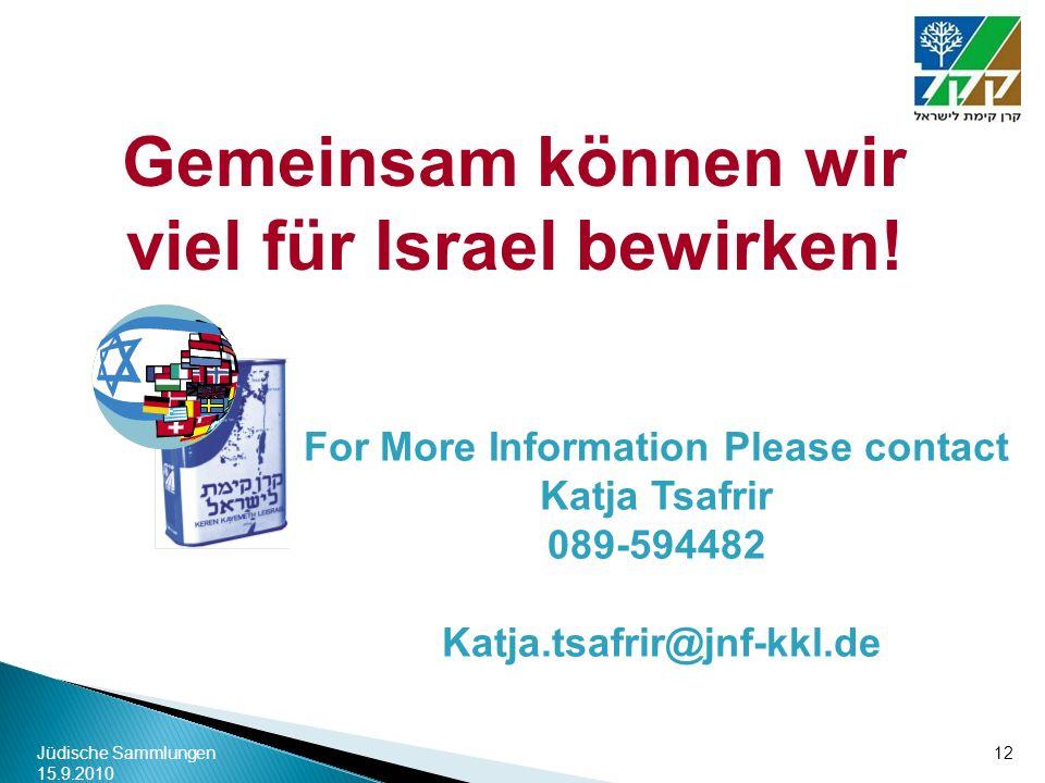 Gemeinsam können wir viel für Israel bewirken!
