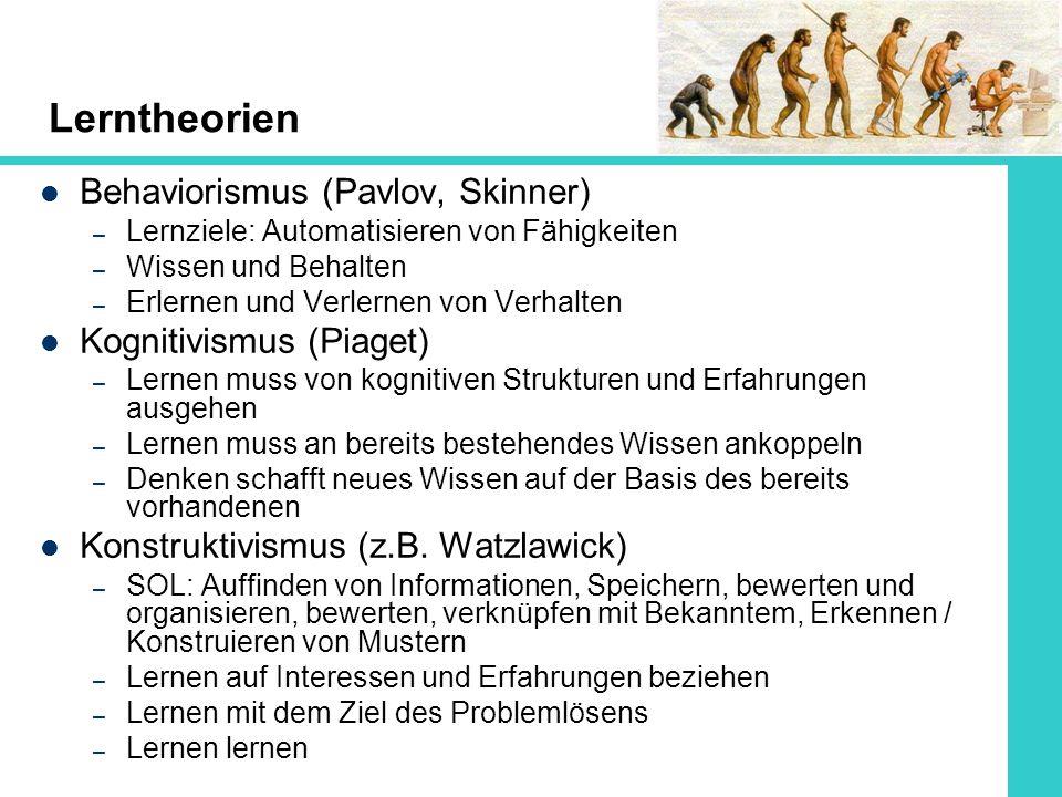 Lerntheorien Behaviorismus (Pavlov, Skinner) Kognitivismus (Piaget)