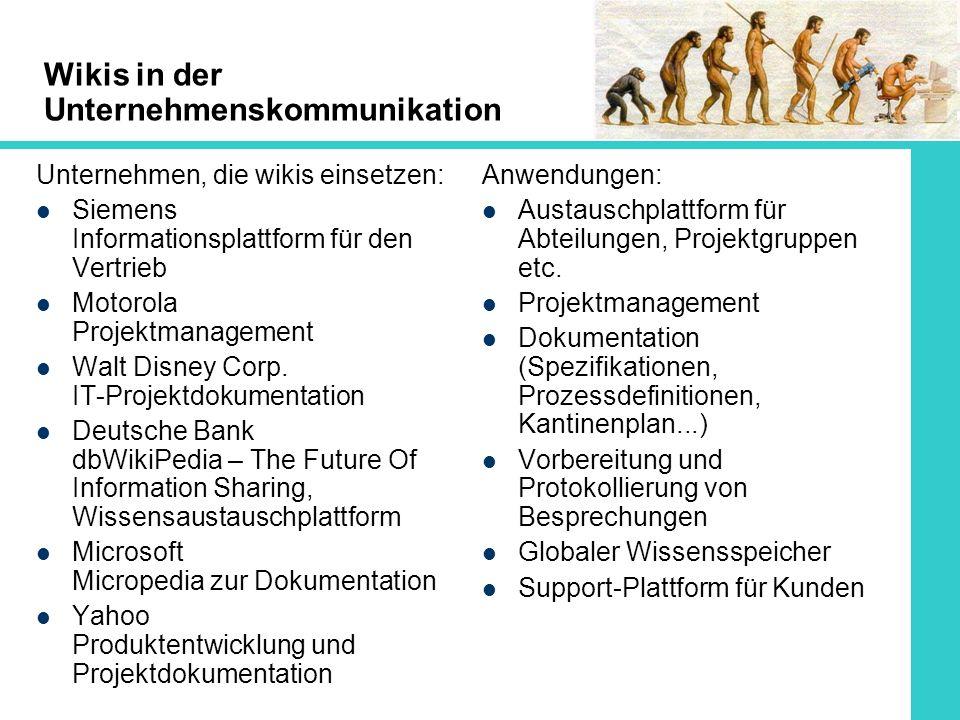 Wikis in der Unternehmenskommunikation