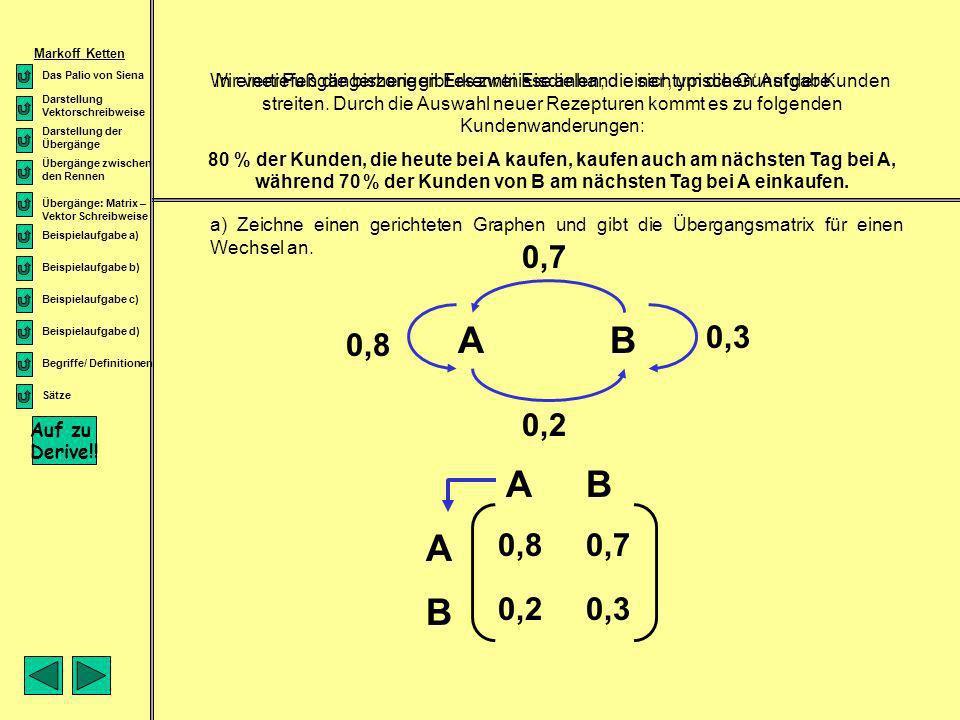 Markoff Ketten Darstellung Vektorschreibweise. Übergänge zwischen den Rennen. Übergänge: Matrix – Vektor Schreibweise.
