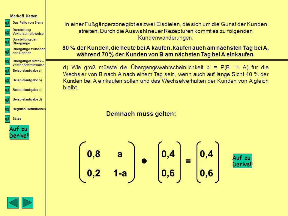 0,4 0,6 0,4 0,6 0,8 a = 0,2 1-a Demnach muss gelten: