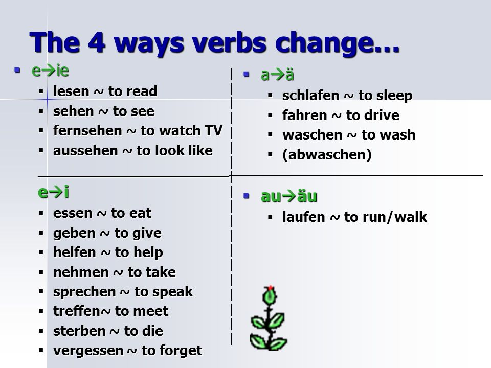 The 4 ways verbs change… eie aä ei auäu lesen ~ to read