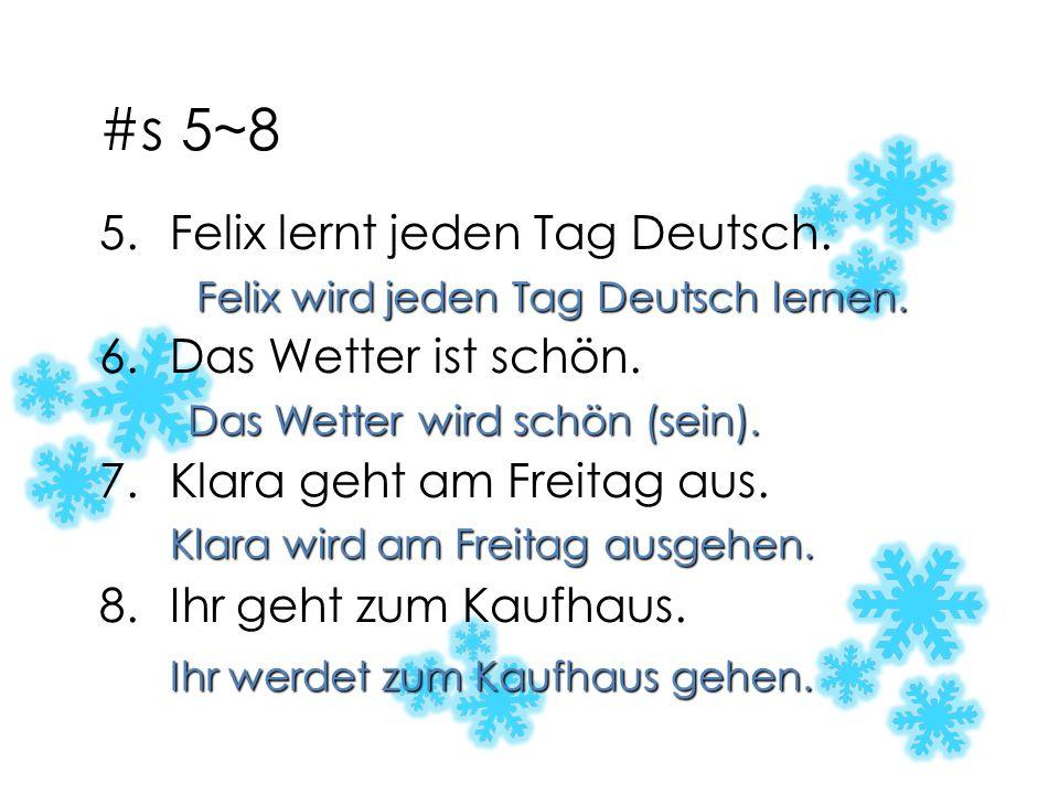 #s 5~8 Felix lernt jeden Tag Deutsch. Das Wetter ist schön.