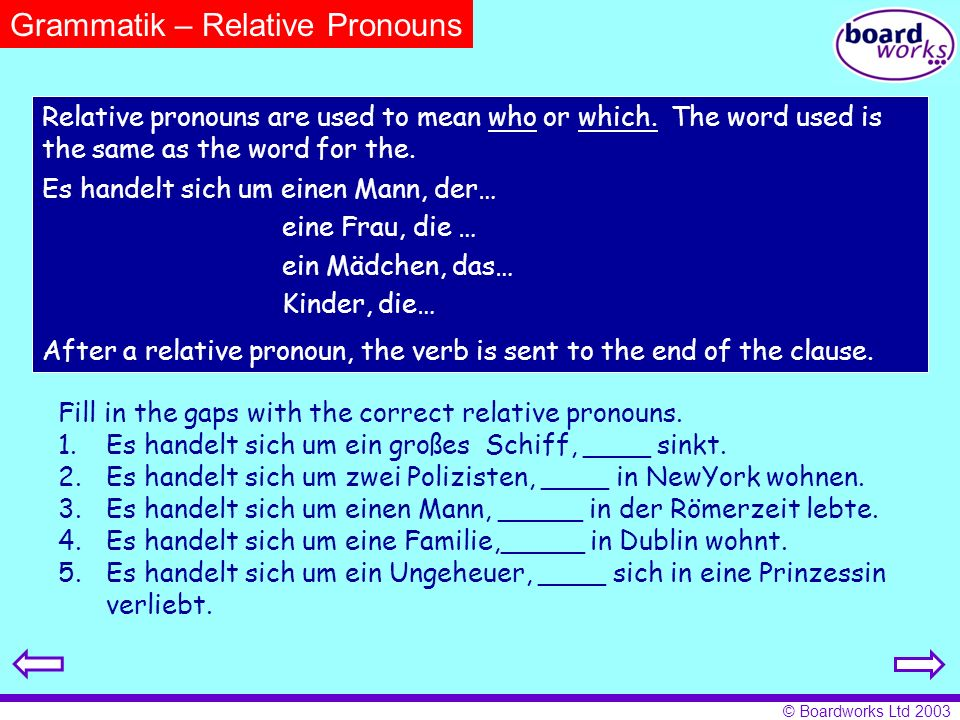 Grammatik – Relative Pronouns