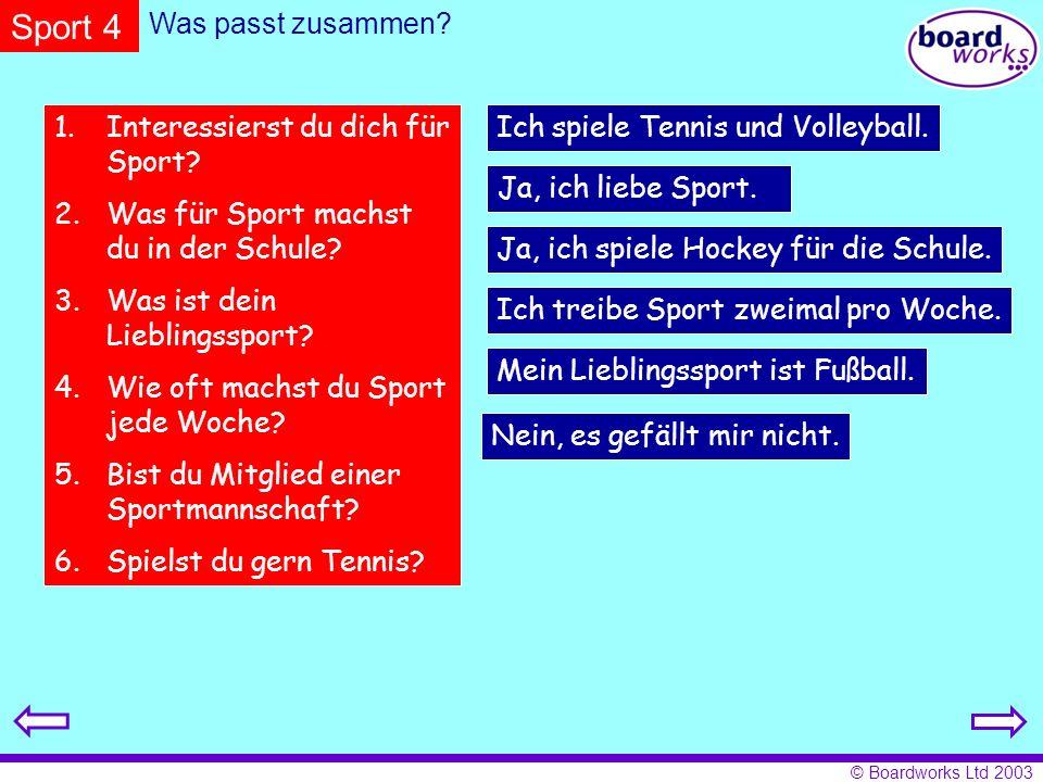 Sport 4 Was passt zusammen Interessierst du dich für Sport