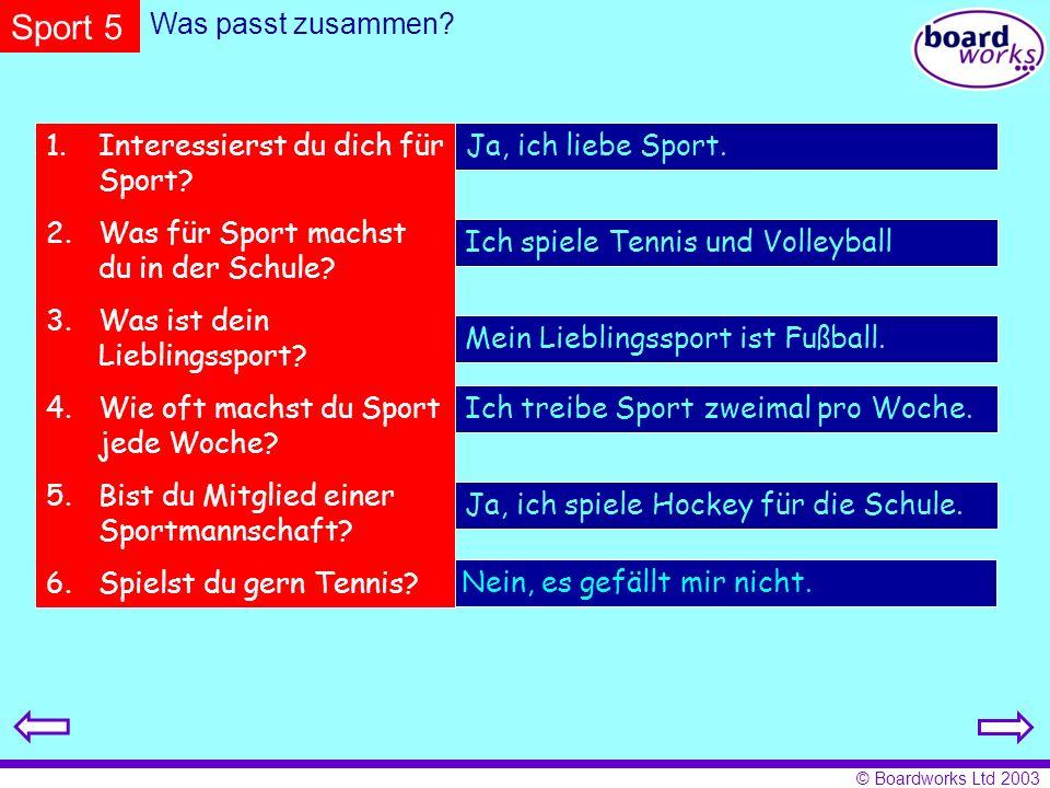 Sport 5 Was passt zusammen Interessierst du dich für Sport