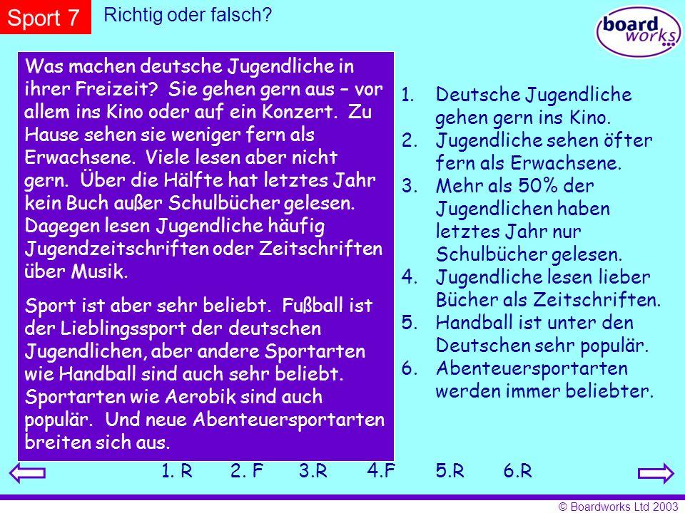 Sport 7 Richtig oder falsch