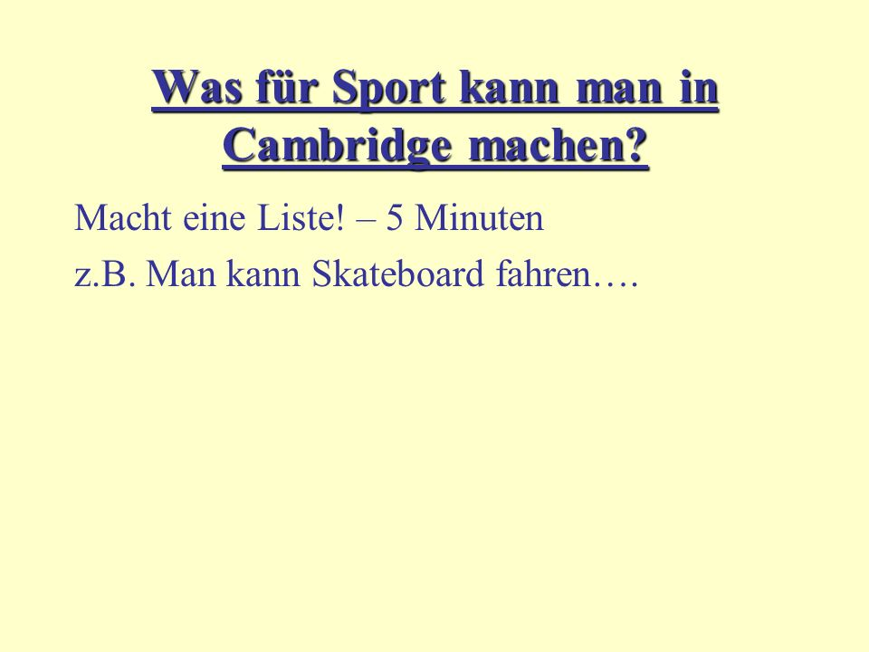 Was für Sport kann man in Cambridge machen