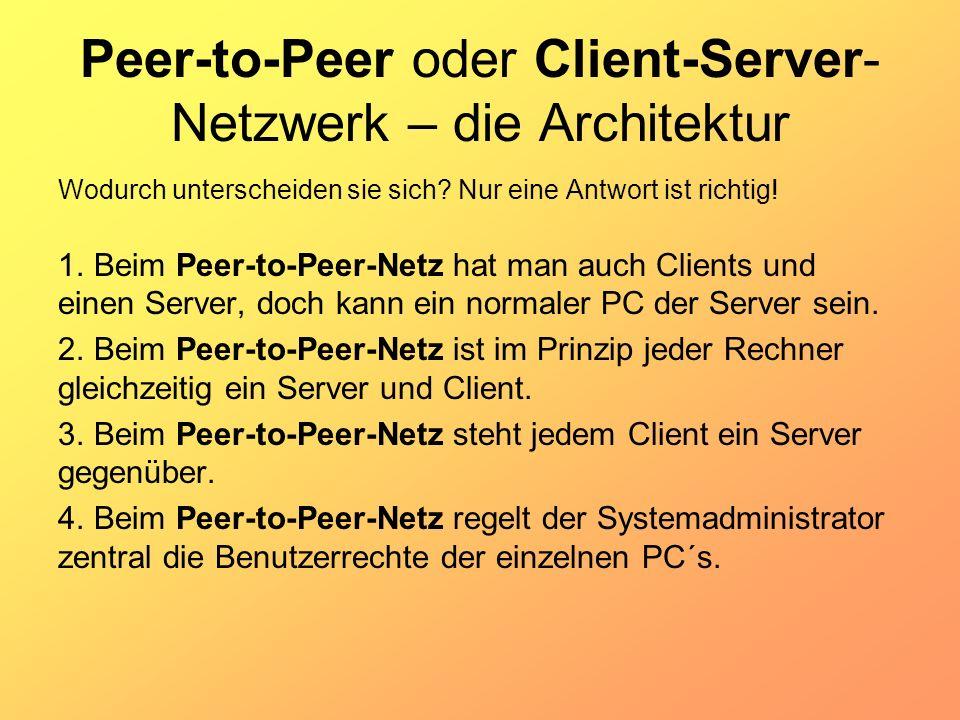 Peer-to-Peer oder Client-Server-Netzwerk – die Architektur