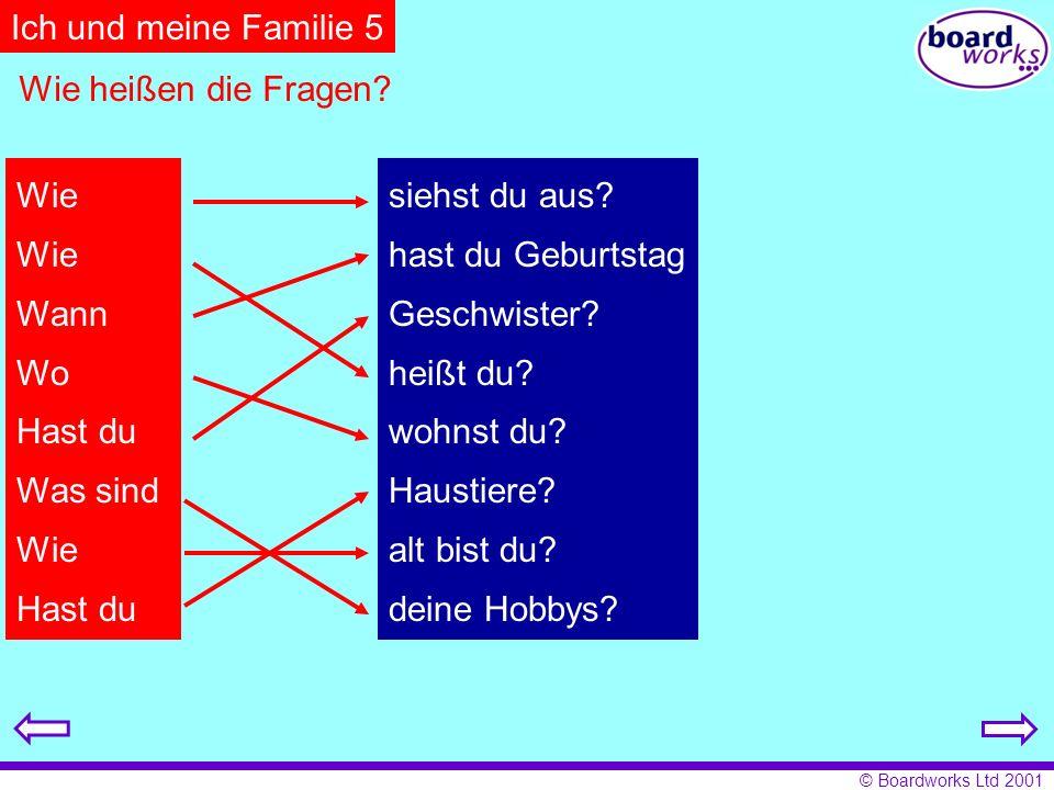 Ich und meine Familie 5 Wie heißen die Fragen Wie Wann Wo Hast du
