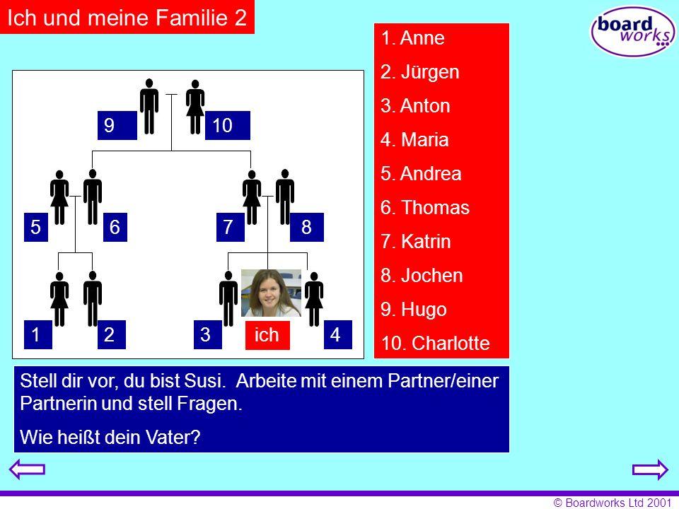 Ich und meine Familie 2 1. Anne 2. Jürgen 3. Anton 4. Maria 5. Andrea