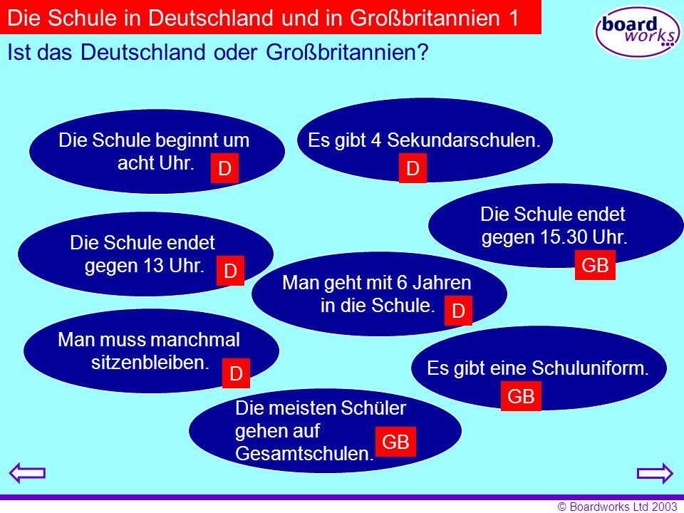 Die Schule in Deutschland und in Großbritannien 1