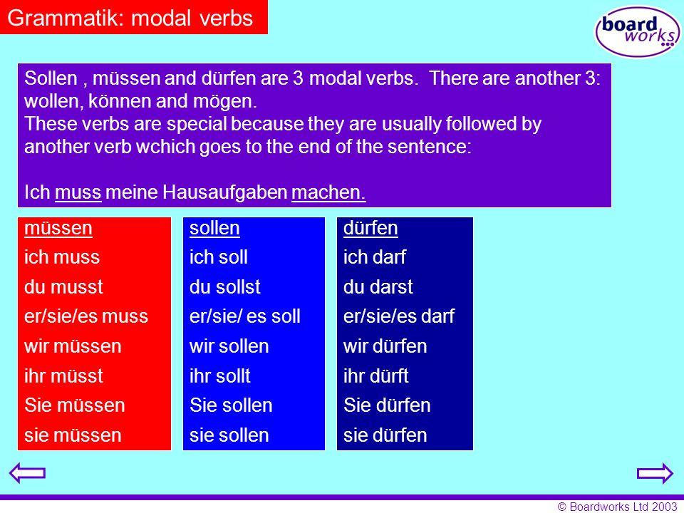 Grammatik: modal verbs
