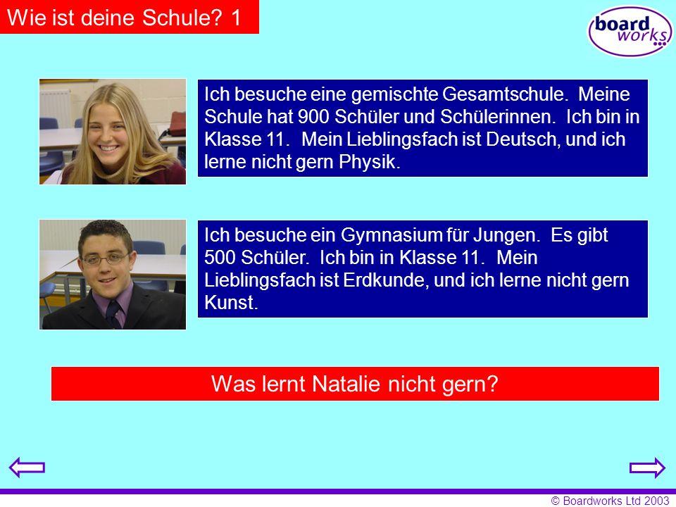 Was lernt Natalie nicht gern In welcher Klasse ist Georg