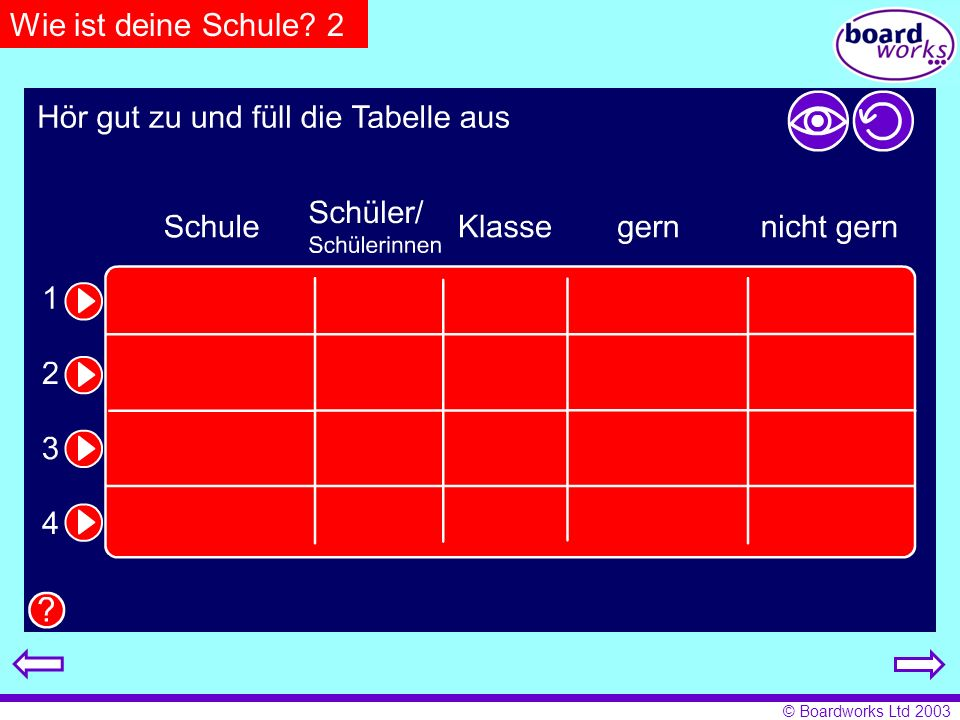 Wie ist deine Schule 2 Pupils listen to text and fill in table. Click on the eye to reveal answers and the arrow to restart.