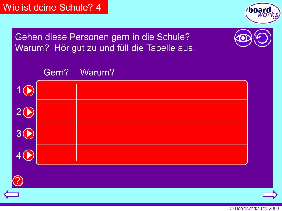 Wie ist deine Schule 4 Pupils listen and fill in the table with the relevant details. Click on the eye to reveal answers, and the arrow to restart.
