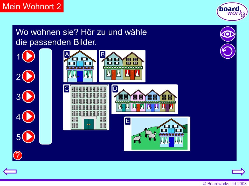 Mein Wohnort 2Pupils listen and note where each person lives. Click on the eye to reveal answers and the arrow to restart.