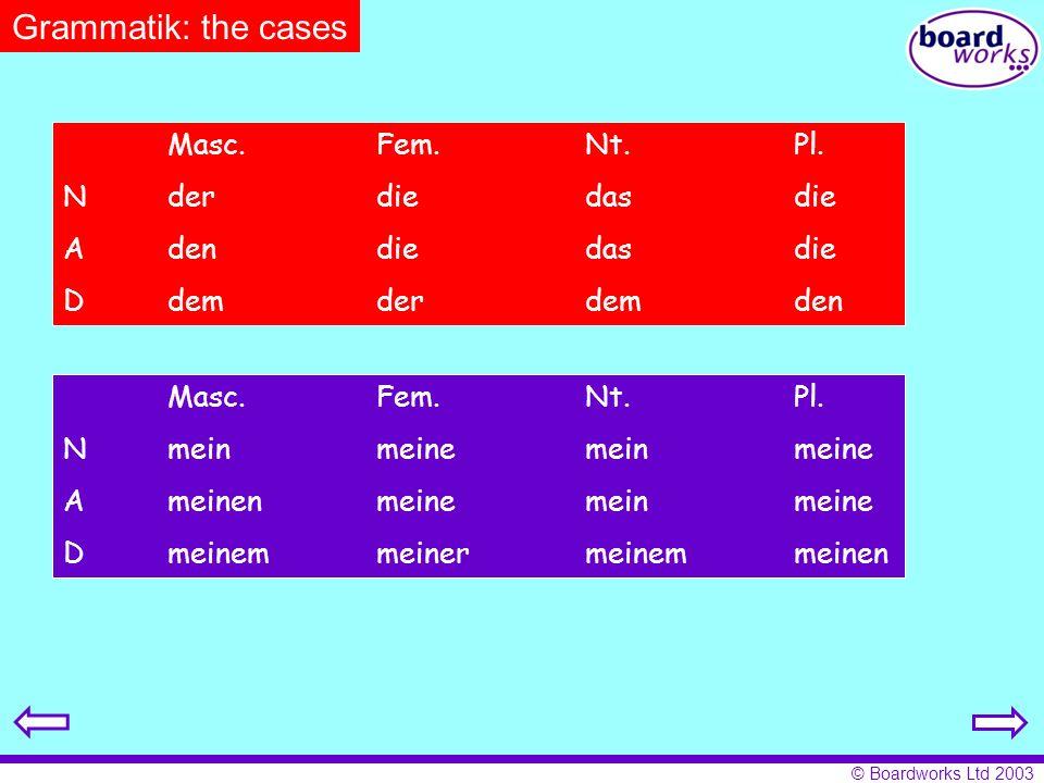 Grammatik: the cases Masc. Fem. Nt. Pl. N der die das die