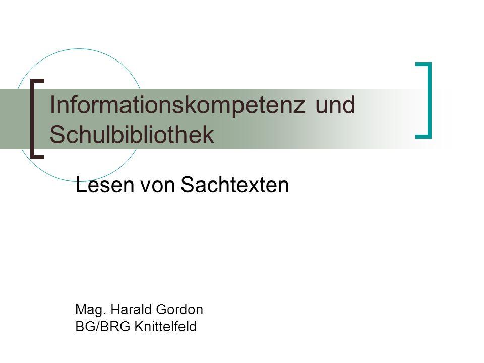 Informationskompetenz und Schulbibliothek