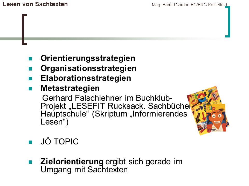 Lesen von Sachtexten Mag. Harald Gordon BG/BRG Knittelfeld