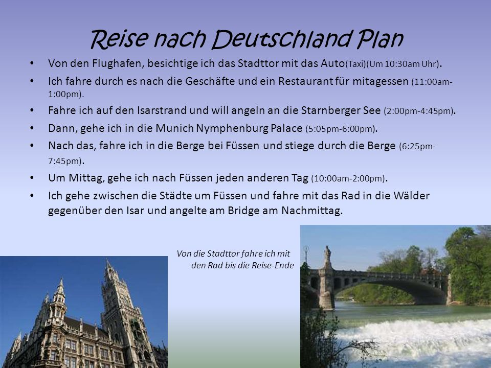 Reise nach Deutschland Plan