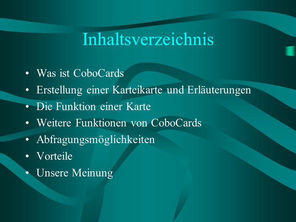 Inhaltsverzeichnis Was ist CoboCards