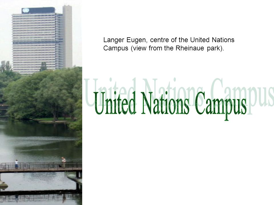 Langer Eugen, centre of the United Nations Campus (view from the Rheinaue park).