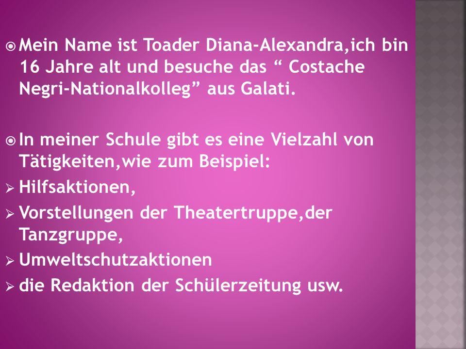 Mein Name ist Toader Diana-Alexandra,ich bin 16 Jahre alt und besuche das Costache Negri-Nationalkolleg aus Galati.