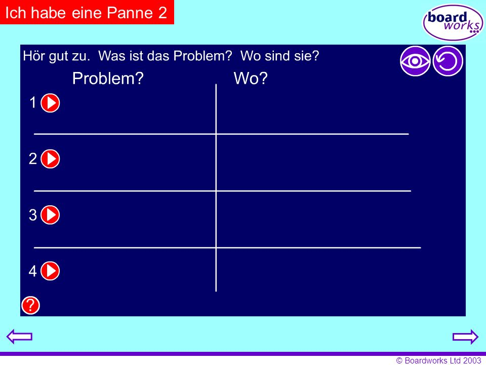Ich habe eine Panne 2 Pupils listen and fill in the relevant details on the table. Click on the eye to reveal answers, and the arrow to restart.