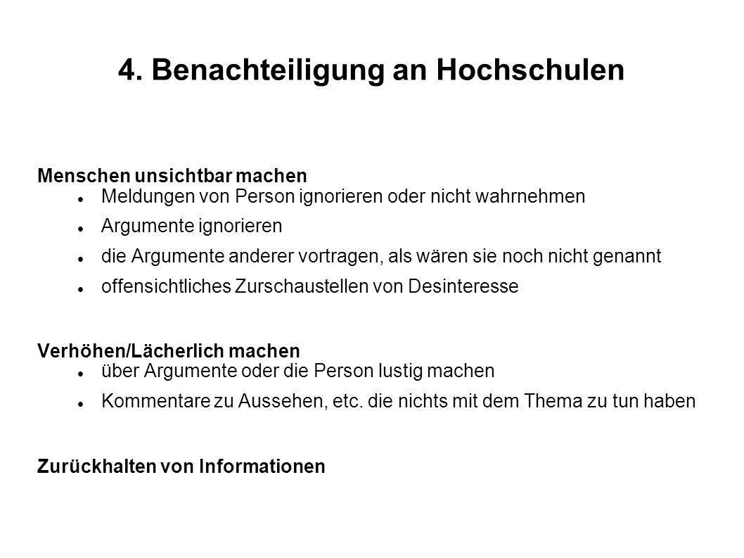 4. Benachteiligung an Hochschulen