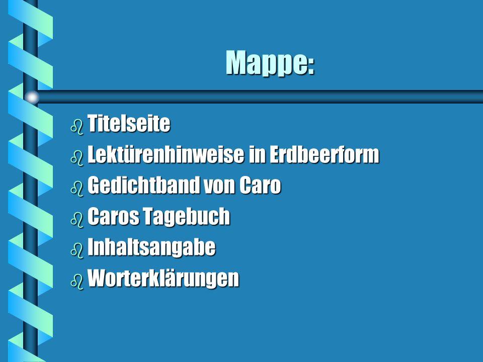 Mappe: Titelseite Lektürenhinweise in Erdbeerform Gedichtband von Caro