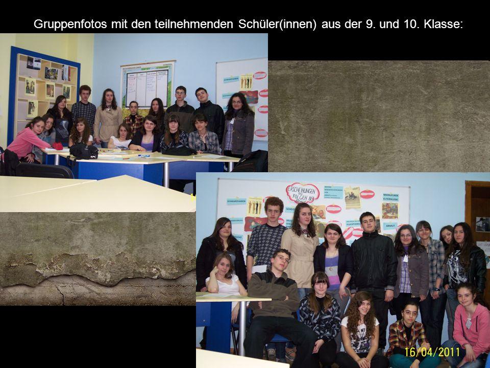 Gruppenfotos mit den teilnehmenden Schüler(innen) aus der 9. und 10