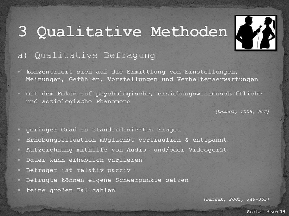 3 Qualitative Methoden a) Qualitative Befragung