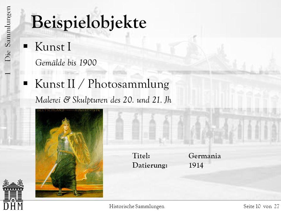 Beispielobjekte Kunst I Gemälde bis 1900 Kunst II / Photosammlung