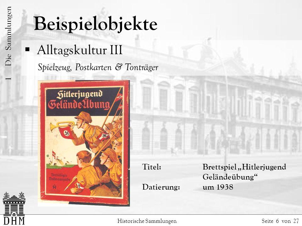 Beispielobjekte Alltagskultur III Spielzeug, Postkarten & Tonträger