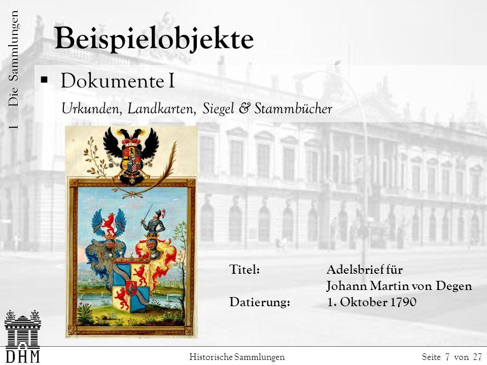 Beispielobjekte Dokumente I Urkunden, Landkarten, Siegel & Stammbücher