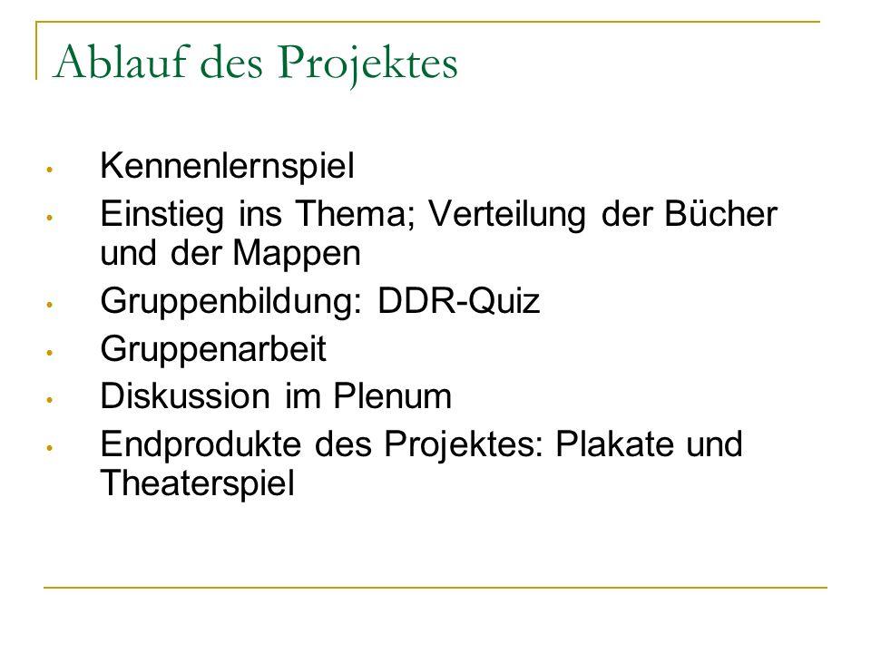 Ablauf des Projektes Kennenlernspiel