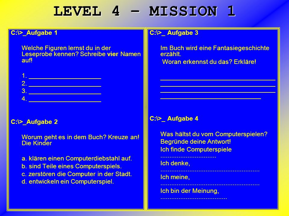 LEVEL 4 – MISSION 1 C:\>_Aufgabe 1