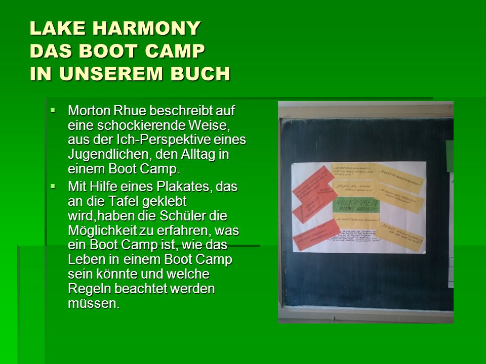 LAKE HARMONY DAS BOOT CAMP IN UNSEREM BUCH