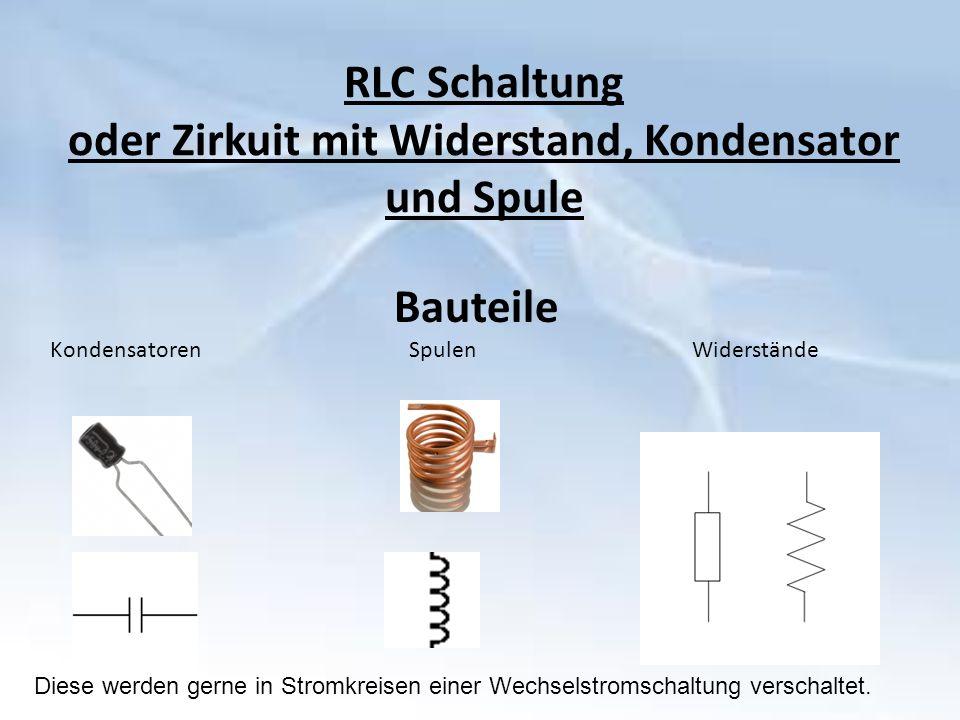 RLC Schaltung oder Zirkuit mit Widerstand, Kondensator und Spule