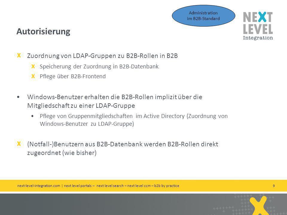 Autorisierung Zuordnung von LDAP-Gruppen zu B2B-Rollen in B2B