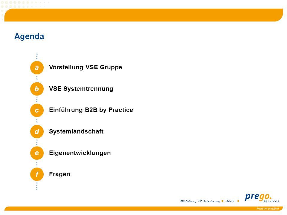 Agenda a b c d e f Vorstellung VSE Gruppe VSE Systemtrennung
