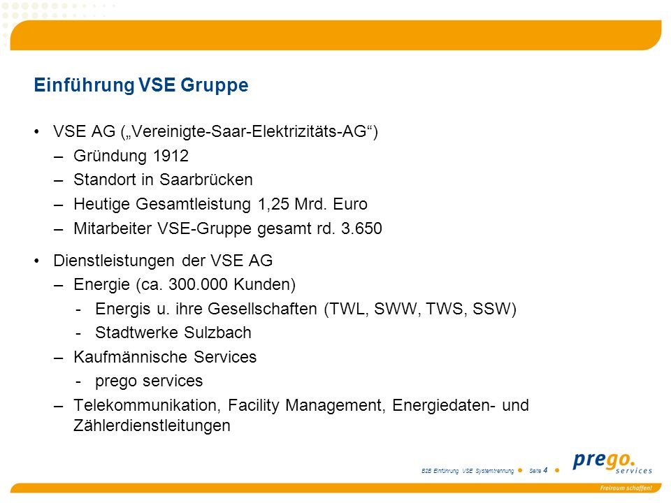 "Einführung VSE Gruppe VSE AG (""Vereinigte-Saar-Elektrizitäts-AG )"