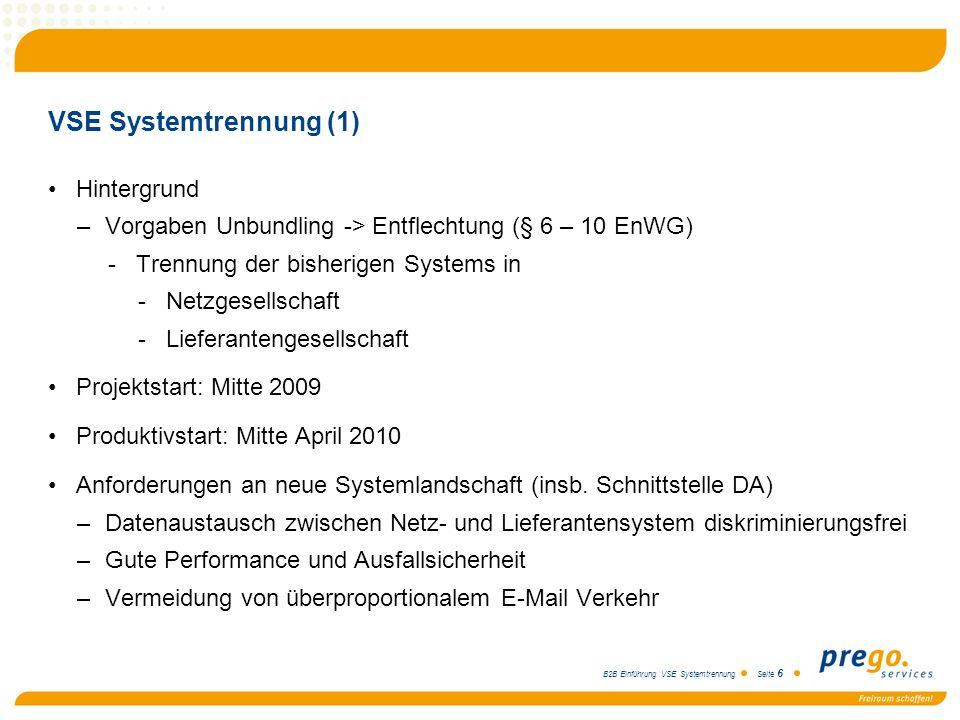 VSE Systemtrennung (1) Hintergrund