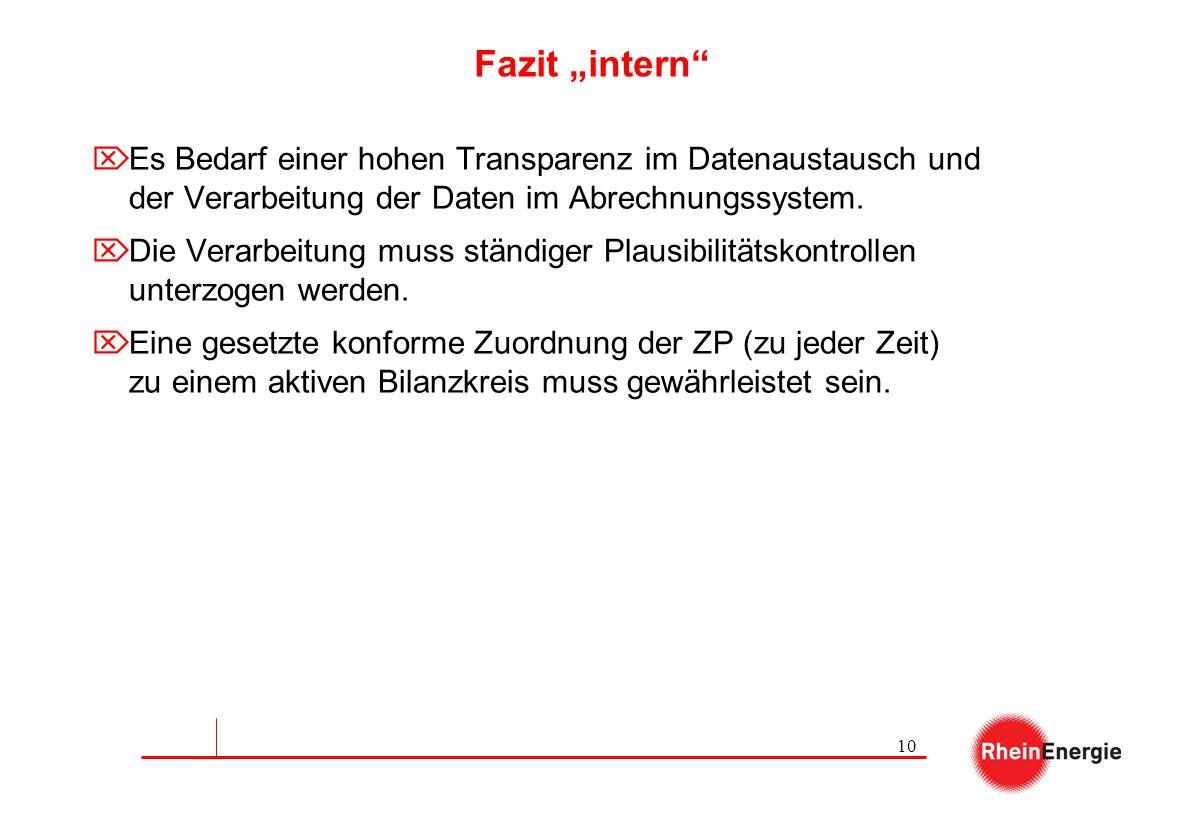 """Fazit """"intern Es Bedarf einer hohen Transparenz im Datenaustausch und der Verarbeitung der Daten im Abrechnungssystem."""