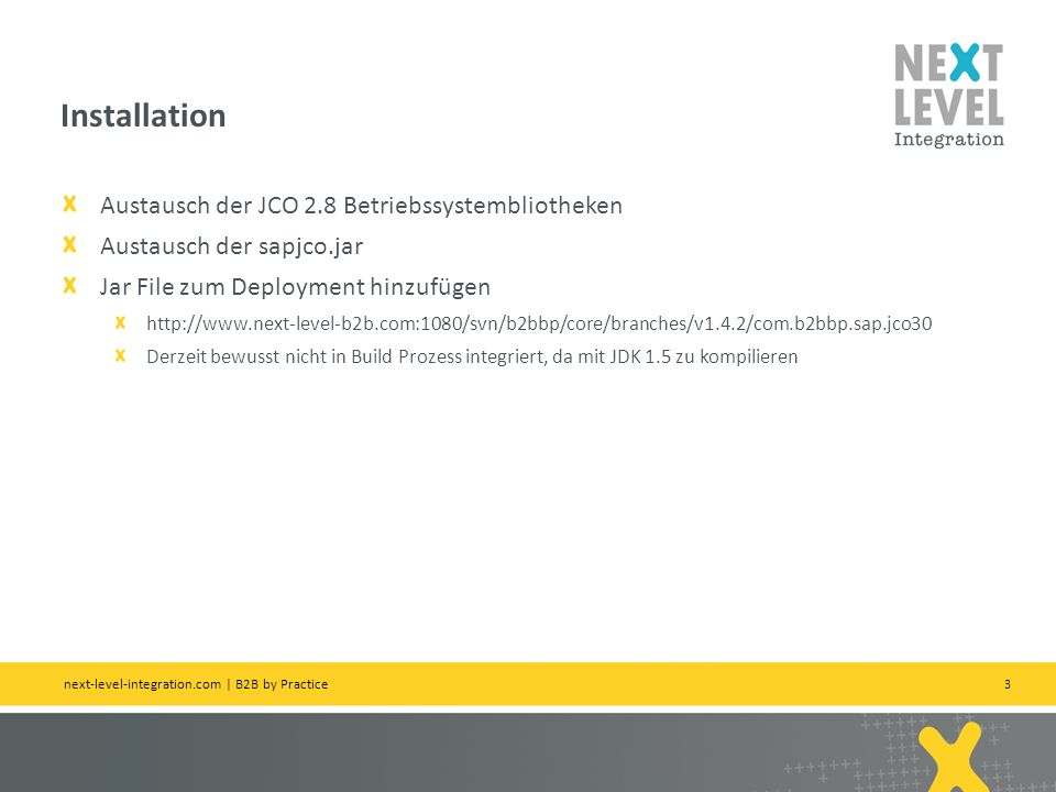 Installation Austausch der JCO 2.8 Betriebssystembliotheken