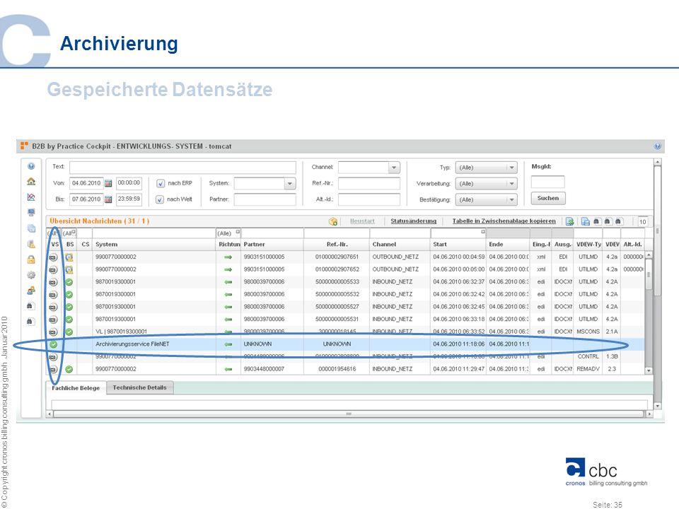 Archivierung Gespeicherte Datensätze
